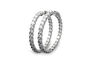 14k white gold hoop earrings with 4.40ct of diamonds