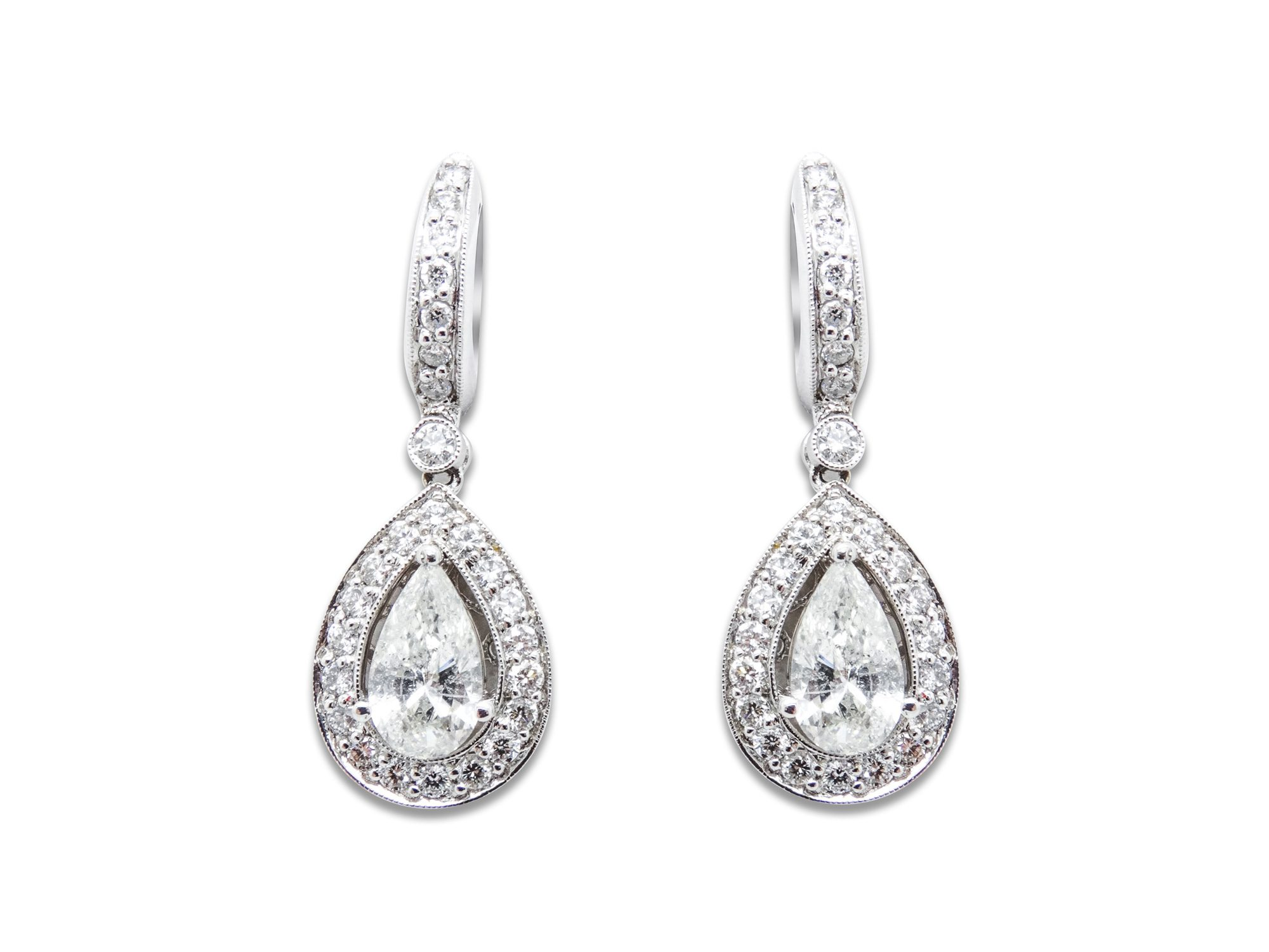 18k White Gold Earrings 1 15ct Of Diamonds Si1 Color G Center 2 Pear Shape 42ct Si3 H