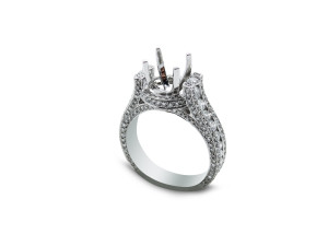 18k white gold engagement ring setting with 1.80ct of diamonds