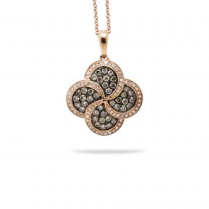 14k rose gold pendant with .77ct of white and champagne diamonds