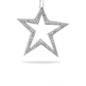 14k white gold star with 1.00ct of diamonds set in pave setting.